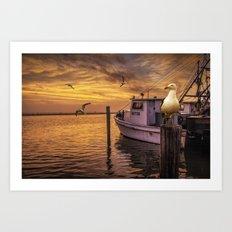 Fishing Boat and Gulls at Sunrise in Aransas Pass Harbor Art Print