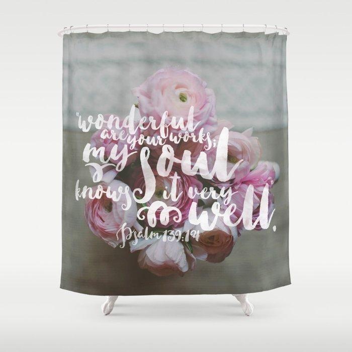 Psalm 139 14 Encouraging Scripture Ranunculus Floral Photograph Shower Curtain
