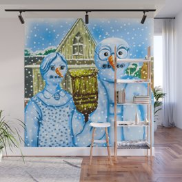 American Gothic Snowpeople Wall Mural