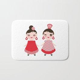 Spanish Woman flamenco dancer. Kawaii cute face with pink cheeks and winking eyes. Gipsy girl Bath Mat
