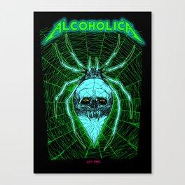 ALCOHOLICA SPIDER SKULL WEB 80's thrasher Canvas Print
