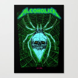 ALCOHOLICA SPIDER SKULL WEB 80's thrasher Canvas Print
