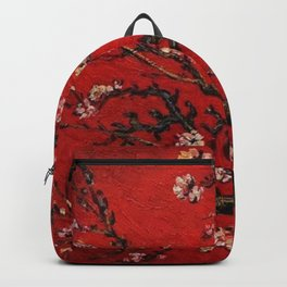 Almond Tree in Blossom - Red Motif by Vincent van Gogh Backpack