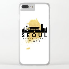 SEOUL SOUTH KOREA SILHOUETTE SKYLINE MAP ART Clear iPhone Case