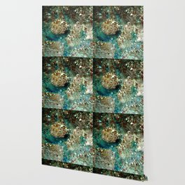 SPARKLING GOLD AND TURQUOISE CRYSTAL Wallpaper