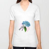 hydrangea V-neck T-shirts featuring hydrangea by bloomingj