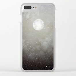 Glowing Moon in the night sky Clear iPhone Case