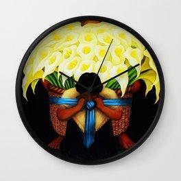 El Vendedor de Alcatraces (the Bringing of the Calla Lilies to Market) by Diego Rivera Wall Clock