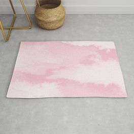 Girly blush pink white pastel color modern clouds pattern Rug