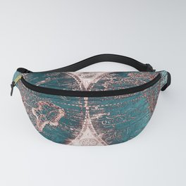 Antique World Map Pink Quartz Teal Blue by Nature Magick Fanny Pack