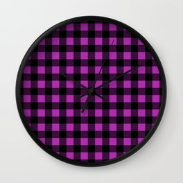 Plaid (Black & Purple Pattern) Wall Clock