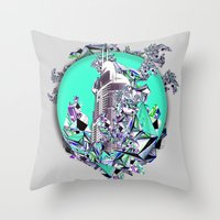 cityscape Throw Pillows featuring Cityscape by infloence