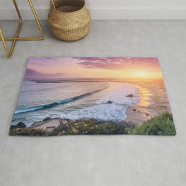 Magnificent Paradise Beach Shoreline View Romantic Sunset Ultra HD Rug