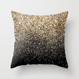 Black & Gold Sparkle Throw Pillow