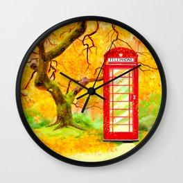 Autumn In Great Britain - Red Telephone Box Artwork Wall Clock