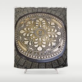 manhole cover, gully,Hungaria, Budapest Shower Curtain
