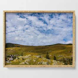 Mountain landscape and cloudy sky Serving Tray