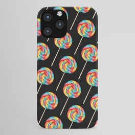 Rainbow Lollipop Pattern - Black iPhone Case