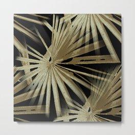 Brown On Black Tropical Vibes Beach Palmtree Vector Metal Print