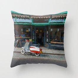 Scooter At A Shrewsbury Cafe Throw Pillow