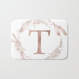 Letter T Rose Gold Pink Initial Monogram Bath Mat