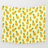 pineapples Wall Tapestries featuring Pineapples by Sara Showalter