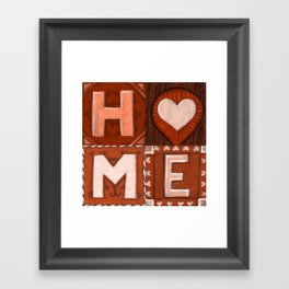 HOME brown red tiles Framed Art Print