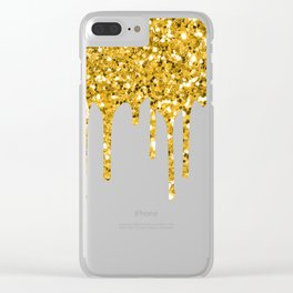 Gold Glitter Sparkle Drips Clear iPhone Case