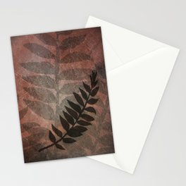 Pantone Living Coral Abstract Grunge with Fern Leaf - Foliage Silhouettes Stationery Cards