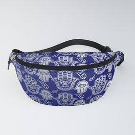 Hamsa Hand pattern - pearl and silver on lapis lazuli Fanny Pack