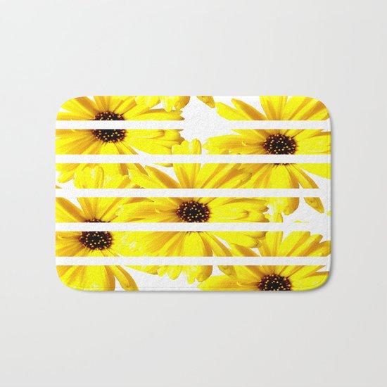 Yellow Mellow Daisies with White Stripes Bath Mat