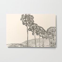 Palm trees in the sky sketch Metal Print