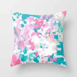 Rhea - abstract minimal painting pink and blue gender neutral nursery Throw Pillow