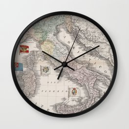 Vintage Italy Map with Flags (1842) Wall Clock