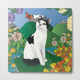 Black and White Cat in the garden - Alfie Chinacat by Nina lyman Metal Print