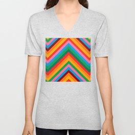 Colorful Rainbow Zig Zag Chevron                                                  Unisex V-Neck