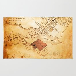 Allentown, New Jersey Map and Mill by Ericka O'Rourke Rug
