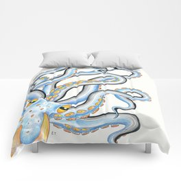 Octopus Orange Blue Ink Funky Comforters