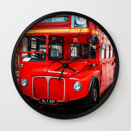 United Kingdom Red Double-Decker Bus - London Icons - Oil painting Wall Clock
