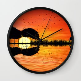 guitar island sunset Wall Clock