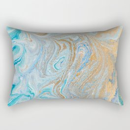 Marble turquoise gold silver Rectangular Pillow