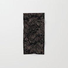 Pink coral tan black floral illustration pattern Hand & Bath Towel