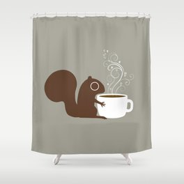 Squirrel Coffee Lover Shower Curtain