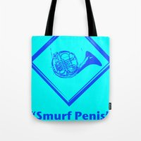 "penis Tote Bags featuring ""Smurf Penis"" by Jorge Daszkal"