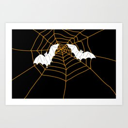 Halloween Orange Spider web with Bats Art Print