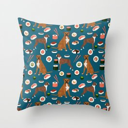 Boxer dog pattern sushi dog lover pet portraits boxers dog breed by pet friendly Throw Pillow