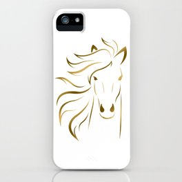 Golden Horse Drawing iPhone Case