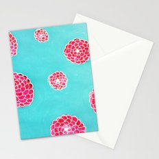 Pink flowers in blue Stationery Cards