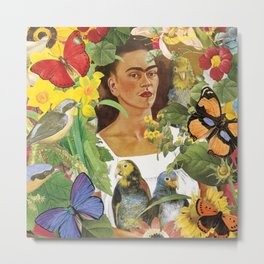 Frida Kahlo Collage Metal Print
