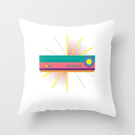 Colorful VHS Player Machine Recorder Classic Cassette Tapes Lover Gift Throw Pillow
